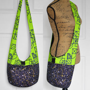Hobo Bag Hippie Purse Crossbody Bag Sling Bag Hippie Bag Boho Bag Handmade Purse Bohemian Purse Geometric Splatter Slouch Bag Hobo Purse