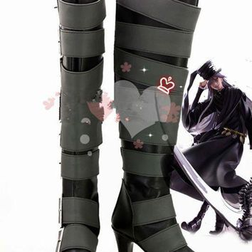 DCK7YE Anime Black Butler Kuroshitsuji Undertaker Cosplay Boots Shoes For Christmas Halloween