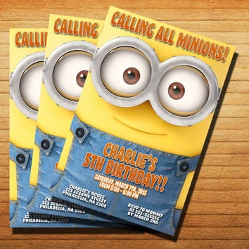 Call All Minions Birthday Invitation Cards 4x6, 5x7, Customized