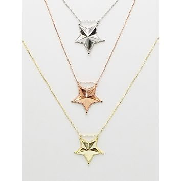 Plain  Sheriff Star Necklace | 925 Sterling Silver