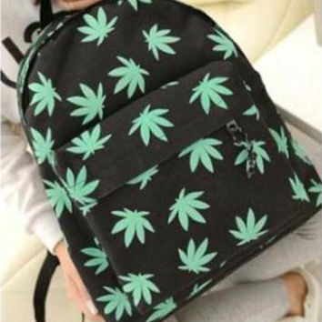 Hot Casual Travel Girl Womens Canvas Campus Backpacks Leaves Printing Casual Student School Book Shoulder Bags