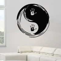 Taoism (Daoism) Symbol Yin and Yang Handprints Wall Vinyl Decal Art Sticker Home Modern Stylish Interior Decor for Any Room Smooth and Flat Surfaces Housewares Murals Window Graphic Bedroom Living Room (3657)
