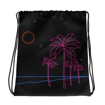 Walks on the Beach Drawstring Bag