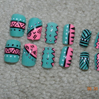 hand painted aztec nails
