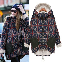 5XL 4XL 3XL Plus Size Women 2014 New Winter Coat Plus Velvet Warm Plaid Cotton Thick Wadded Jacket Parka Womens Clothing = 1958393284