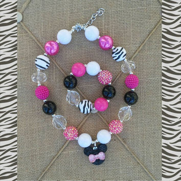 Minnie Mouse Hot Pink Zebra Necklace Set - Minnie Birthday Necklace - First Birthday - Disney Trip - Photo Prop - Gift - Pink and Black