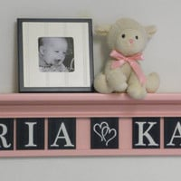 "Nursery Shelves - Pink Baby Girl Nursery 36"" Light Pink Shelf with 8 Navy Wooden Plaques Personalized for ARIA (hearts) KAY"
