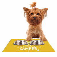 "Jackie Rose ""Happy Camper"" Yellow Typography Dog Place Mat"