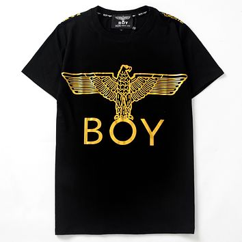 BOY LONDON 2019 new hot stamping eagle printed round neck half sleeve t-shirt Gold