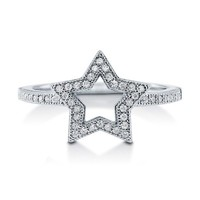 CUBIC ZIRCONIA 925 STERLING SILVER OPEN STAR FASHION RIGHT HAND RING