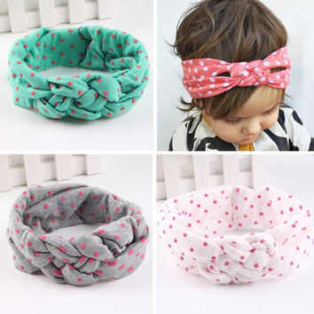 Newborn Baby Girl Cotton Turban Headband Fabric Elastic Hair band Dots Knot Headwear Bandanas [7641405190]