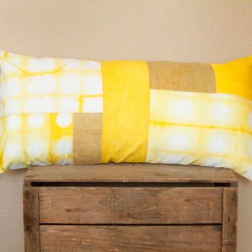 Mustard Yellow Shibori Pillow Cover- mustard, canary and amber yellow shibori patchwork cushion, one of a kind bolster pillow