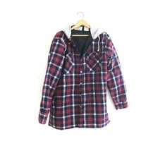 Vintage purple Plaid Flannel hoodie / Grunge Shirt jacket / insulated button up shirt coat / LT