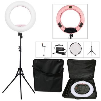 "Yidoblo Pink FS-480II 5500K Dimmable Camera Photo/Studio/Phone/Video 18""55W 480 LED Ring Light LED Lamp+ 2M tripod +Soft bag Kit"