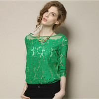 Women Sexy Shirt European Style Ladies Half Sleeve Shirts Hollow Out Green Lace Chiffon Blouse White Elegant Tops