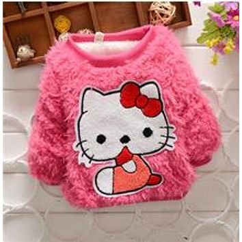Baby Girl fashion sweater T Shirt  Kids long Sleeve thick shirt Children Candy color warm winter sweater for baby girls