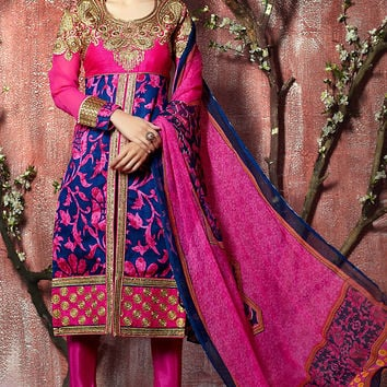 Pink and Blue Floral Zari Embroidered Straight Cut Suit