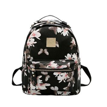 Women Leather Backpack Flower Floral Backpacks For Teenage Girls Small Printing Backpack Female Schoolbag Rucksacks For Girls