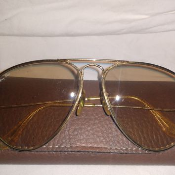70s Vintage Ray Ban B&L Aviators Sunglasses AMBERMATIC/MIRROR 58[]14 RARE