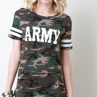 Army Print Camouflage Over-Sized Short Sleeves Tee