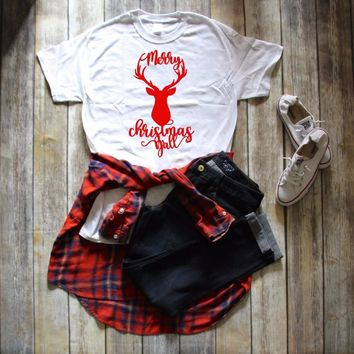 DEER MERRY CHRISTMAS YALL T-shirt graphic funny slogan holiday gift causal shirt aesthetic camisetas tumblr party style tee tops