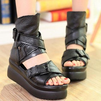 Genuine Leather Women Sandals Platform Shoes High Heels Black Sandals