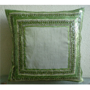Green Envy - Throw Pillow Covers - 20x20 Inches Silk Dupion Pillow Cover with 3D Sequins