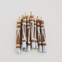 "small silver tribal twig pencils - hand painted - 4"" (10 pencils)"