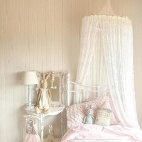 Nordic White Lace Girls Princess Dome Canopy Bed Curtains Round Kids Play Tent Room Decoration Baby Bed Hanging Crib Netting