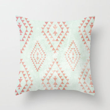 mint & coral tribal pattern Throw Pillow by daniellebourland