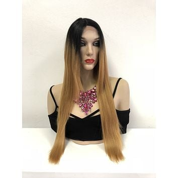 Blond Ombre' Swiss Lace Front Wig | Straight Layered Hair | South Beach