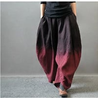 Womens Casual Wide Leg Palazzo Linen Bloomers