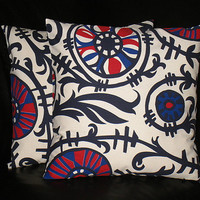 """Navy Pillows 26 inch EUROS Suzani Pillow Covers navy blue, red, natural set of TWO 26"""" accent pillows"""