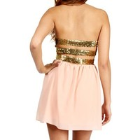 Peach/Gold Strapless Sequin Bar Back Dress