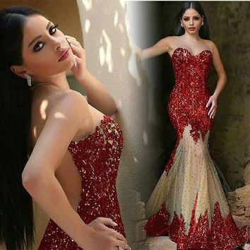 Gorgeous Mermaid Tulle Evening Gown 2017 New Sequins Beads Sheer Back  Prom Pageant  Dress