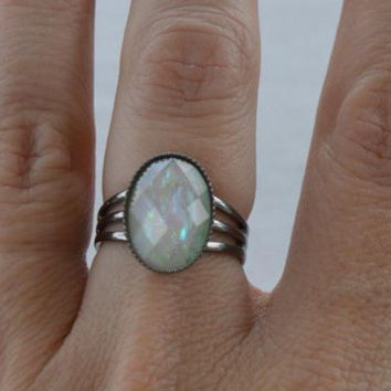 White Faux Opal in Gunmetal Setting, Faceted Opal, Rainbow Color, Moonstone Color, Black Silver Setting, Antiqued Silver, Adjustable ring