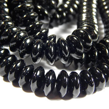 15-1/2 Inch Strand - 10x5mm Natural Black Agate Rondelle Beads - Rondelle - Gemstone Beads - Jewelry Supplies