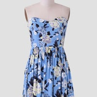 Summer Bouquet Dress In Light Blue