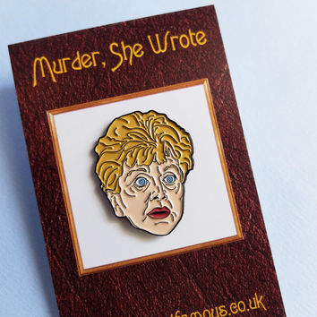 Jessica 'JB' Fletcher enamel lapel pin badge. Murder She Wrote. Badge. Hat pins. Angela Lansbury. Bedknobs and Broomsticks. Patch. Detective