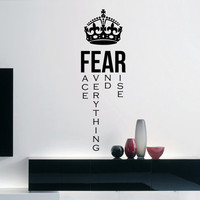 """Fear Inspirational Wall Decal Quote """"Fear: Face everything and rise"""" 34 x 11 inches"""