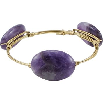 Crystal Wire Bangle Amethyst Oval Stones