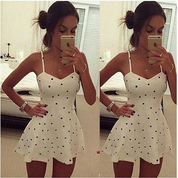 Womens Summer Casual Vintage Pinup Rockabilly Polka Dot Sleeveless  A Line Flare Skater Sundress Dress