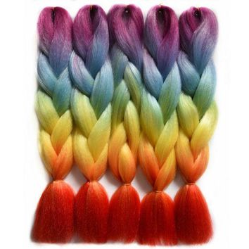 PEAP78W Chorliss 24'(65cm) Jumbo Synthetic Crochet Hair Extension Ombre Braiding Hair Straight Crochet Braids Rainbow Color 100g 1pc