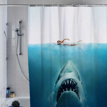 shark jaws shower curtain, custom shower curtain.