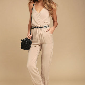 Learning to Fly Beige Jumpsuit