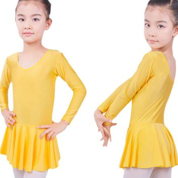Long sleeved Spandex Gymnastics Leotard for Girls Ballet Dress Clothing Kids Dance Wear
