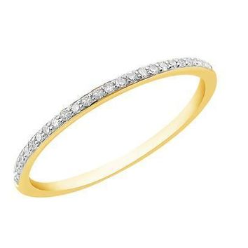White Diamond Band Ring - 14k Yellow Gold Plated