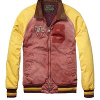 Baseball Jacket With Leather Collar - Scotch & Soda