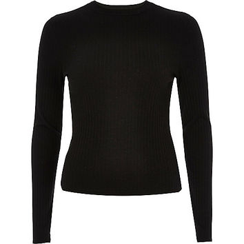 Black ribbed turtle neck top
