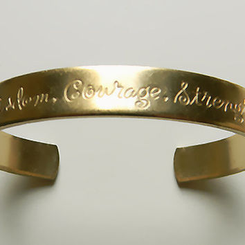Raw Brass Cuff Bracelet, Wisdom Etched Sentiments Cuff Bracelet - 1 pc. (r237)